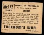 1950 Topps Freedoms War #172   Cruiser  Back Thumbnail