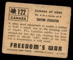 1950 Topps Freedoms War #122   Snow Fighter  Back Thumbnail