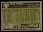 1961 Topps #518  Andy Carey  Back Thumbnail