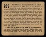 1938 Gum Inc. Horrors of War #209   Rebel Calvary Commander Killed in Action Back Thumbnail