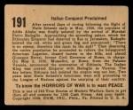 1938 Gum Inc. Horrors of War #191   Italian Conquest Proclaimed Back Thumbnail