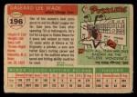 1955 Topps #196  Gale Wade  Back Thumbnail
