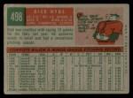 1959 Topps #498  Dick Hyde  Back Thumbnail