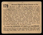 1938 Gum Inc. Horrors of War #179   Wrecked Highway Brings Disaster to Foe Back Thumbnail