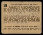 1938 Gum Inc. Horrors of War #86   Chinese Schoolgirls Enlist for War Service Back Thumbnail