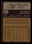 1973 Topps #215  Dusty Baker  Back Thumbnail