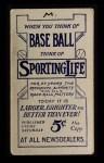 1910 M116 Sporting Life  Danny Murphy  Back Thumbnail