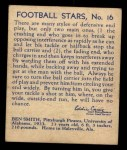 1935 National Chicle #16  Ben Smith   Back Thumbnail