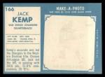 1961 Topps #166  Jack Kemp  Back Thumbnail