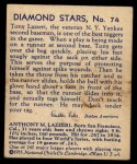1935 Diamond Stars #74  Tony Lazzeri   Back Thumbnail