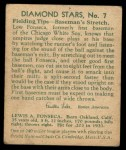 1935 Diamond Stars #7  Lew Fonseca  Back Thumbnail