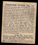 1935 Diamond Stars #75  Irving Burns   Back Thumbnail