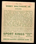 1933 Goudey Sport Kings #31  Bobby Walthour Jr.  Back Thumbnail