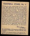 1935 National Chicle #2  Bo Molenda   Back Thumbnail