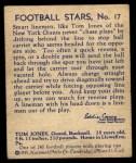 1935 National Chicle #17  Tom Jones   Back Thumbnail