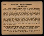 1941 Gum Inc. Uncle Sam Home Defense #106   Spot Wardens Back Thumbnail