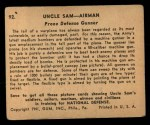 1941 Gum Inc. Uncle Sam Home Defense #92   Prone Defense Gunner Back Thumbnail