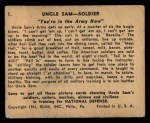 1941 Gum Inc. Uncle Sam Home Defense #1   You're In The Army Now Back Thumbnail