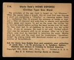 1941 Gum Inc. Uncle Sam Home Defense #114   Civilian Type Gas Mask Back Thumbnail