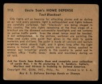 1941 Gum Inc. Uncle Sam Home Defense #112   Test Blackout Back Thumbnail