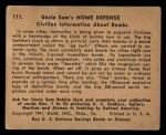 1941 Gum Inc. Uncle Sam Home Defense #111   Civilian Information About Bombs Back Thumbnail