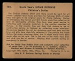 1941 Gum Inc. Uncle Sam Home Defense #103   Children's Duties Back Thumbnail