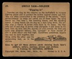 1941 Gum Inc. Uncle Sam Home Defense #49   Digging In Back Thumbnail