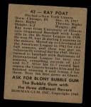 1948 Bowman #42  Ray Poat  Back Thumbnail