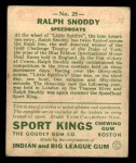1933 Goudey Sport Kings #25  Ralph Snoddy   Back Thumbnail