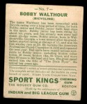 1933 Goudey Sport Kings #7  Bobby Walthour Sr  Back Thumbnail