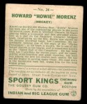 1933 Goudey Sport Kings #24  Howie Morenz   Back Thumbnail