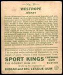 1933 Goudey Sport Kings #39  Jack Westrope   Back Thumbnail