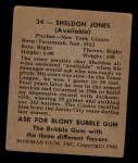 1948 Bowman #34  Sheldon Jones  Back Thumbnail