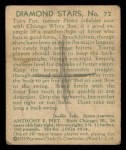1935 Diamond Stars #72  Tony Piet   Back Thumbnail