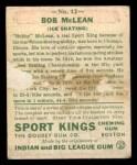1933 Goudey Sport Kings #12  Bobby McLean   Back Thumbnail