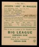 1938 Goudey Heads Up #274  Joe DiMaggio  Back Thumbnail