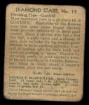 1935 Diamond Stars #13  George Blaeholder   Back Thumbnail