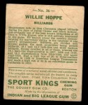 1933 Goudey Sport Kings #36  Willie Hoppe   Back Thumbnail