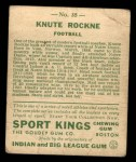 1933 Goudey Sport Kings #35  Knute Rockne   Back Thumbnail