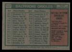 1975 Topps #117   -  Earl Weaver Orioles Team Checklist Back Thumbnail