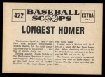 1961 Nu-Card Scoops #422   -   Mickey Mantle Mantle Hits Longest Homer Back Thumbnail