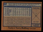 1978 Topps #432  Terry Bulling  Back Thumbnail