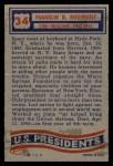 1956 Topps U.S. Presidents #34  Franklin Roosevelt  Back Thumbnail