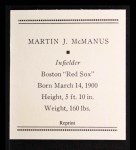 1933 Tattoo Orbit Reprint #47  Marty McManus  Back Thumbnail