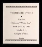 1933 Tattoo Orbit Reprint #43  Ted Lyons  Back Thumbnail