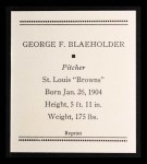 1933 Tattoo Orbit Reprints #6  George Blaeholder  Back Thumbnail