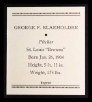 1933 Tattoo Orbit Reprint #6  George Blaeholder  Back Thumbnail