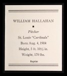 1933 Tattoo Orbit Reprint #29  Bill Hallahan  Back Thumbnail