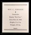 1933 Tattoo Orbit Reprint #35  Roy Johnson  Back Thumbnail