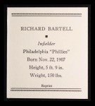 1933 Tattoo Orbit Reprint #4  Dick Bartell  Back Thumbnail